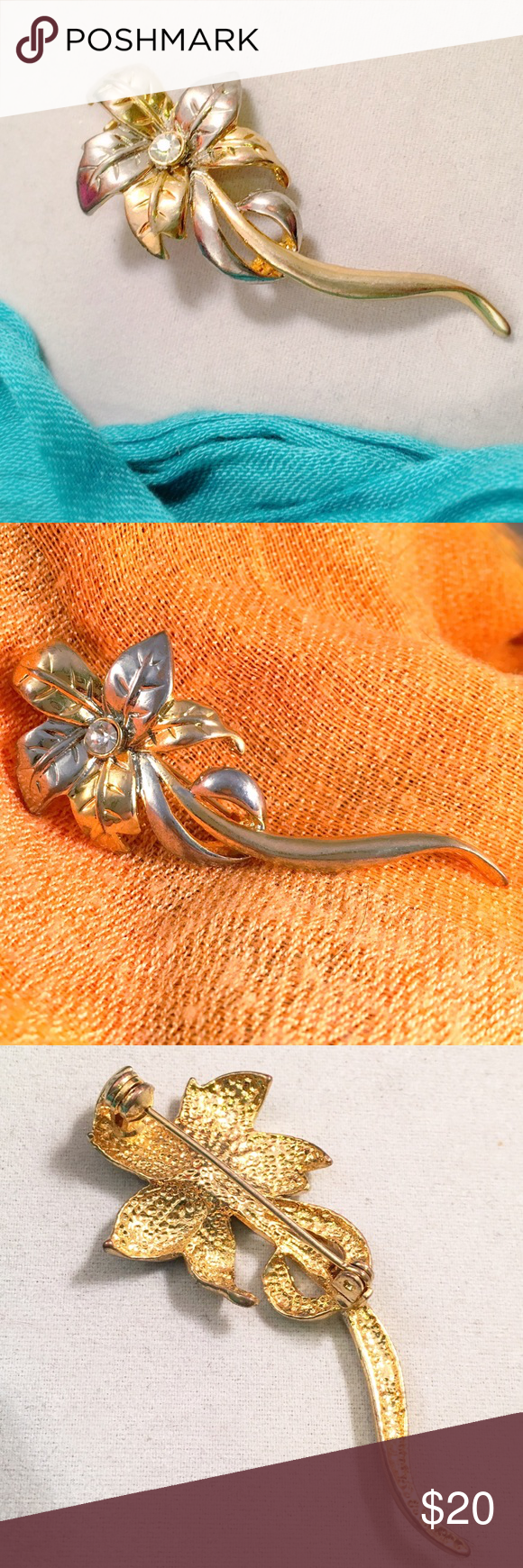 "VINTAGE Flower Two Tone Brooch Simple. Elegant. Bright center rhinestone. Etched silver tone and gold tone details in flower. Approx 2.5"" long. Vintage Jewelry Brooches"