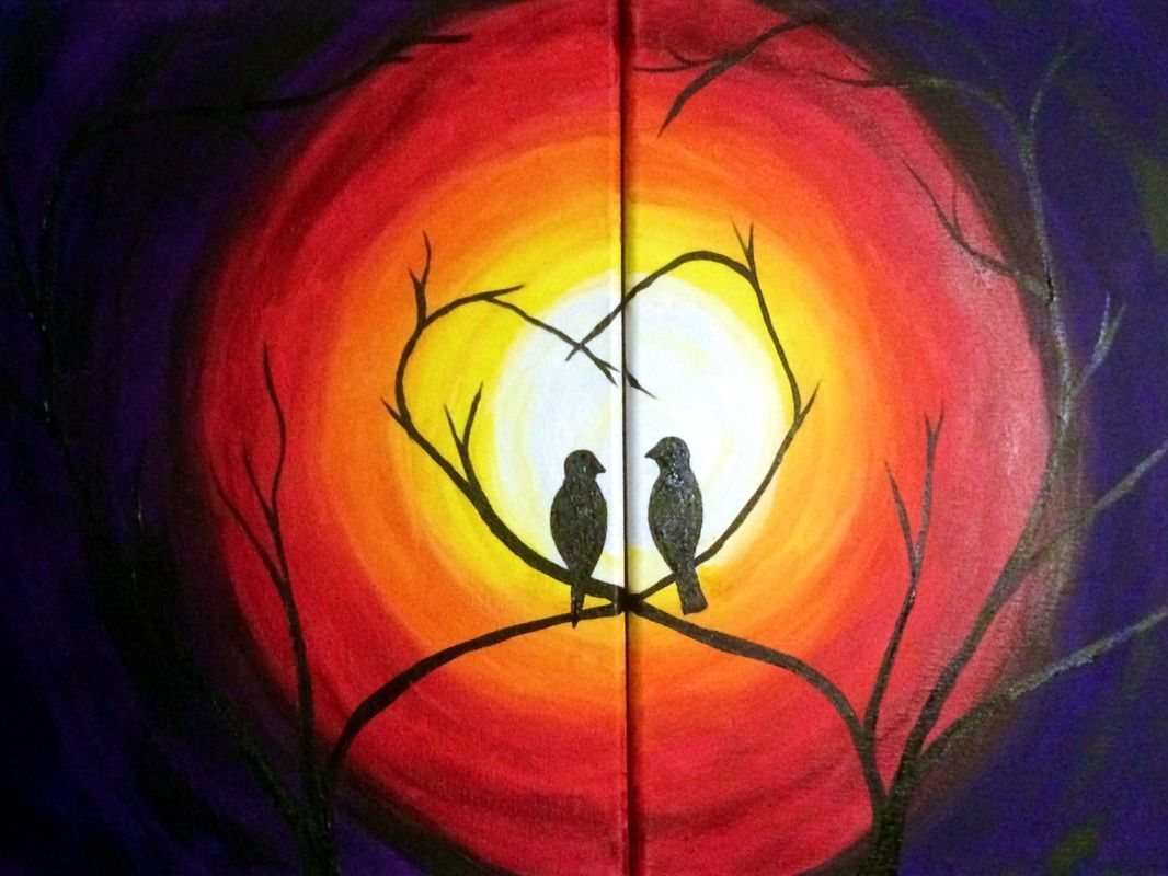 Love Birds Partner Paint Party Couples Canvas Painting Paint Party Couple Painting