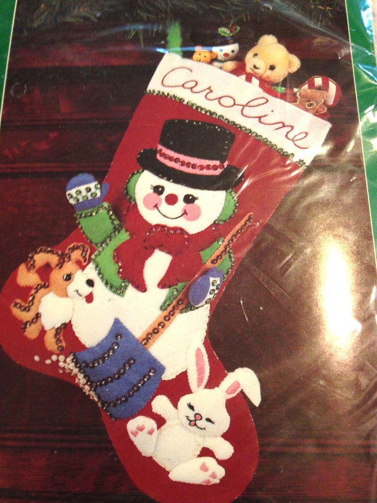 BUCILLA HOLIDAY PALS FELT APPLIQUE CHRISTMAS STOCKING KIT NIP #BUCILLA