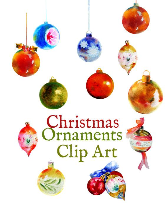 watercolour clip art christmas ornaments set instant download high resolution 350dpi - Christmas Decoration Sets