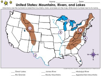 United States Map Mountains Rivers And Lakes Locate Places On A