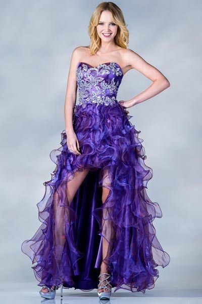 PRIMA C137680 High Low Orange or Purple Prom Dress | High low, Prom ...