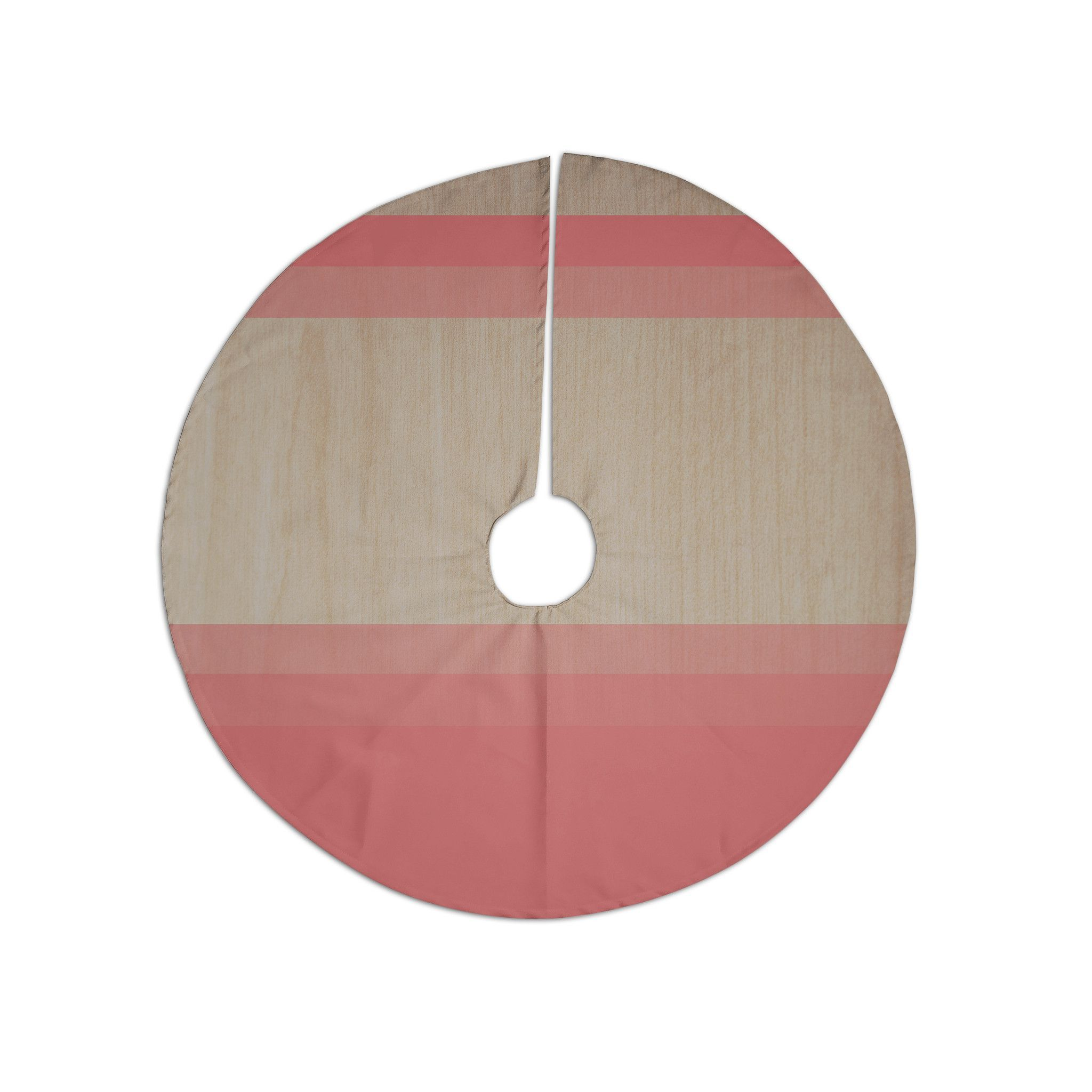 "Brittany Guarino ""Art Red"" Pink Wood Christmas Tree Skirt"