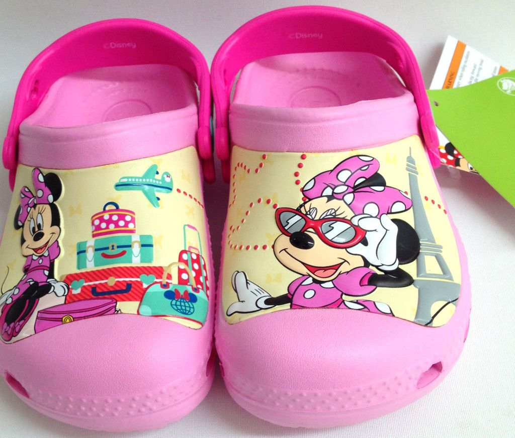 Authentic Crocs Kids Girls Disney Pink Minnie Mouse jetsetter sunglass  clogs sandals shoes