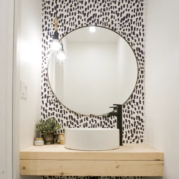 Brush Strokes Wallpaper Peel Stick Bathroom Wallpaper Removable Wallpaper Round Mirror Bathroom