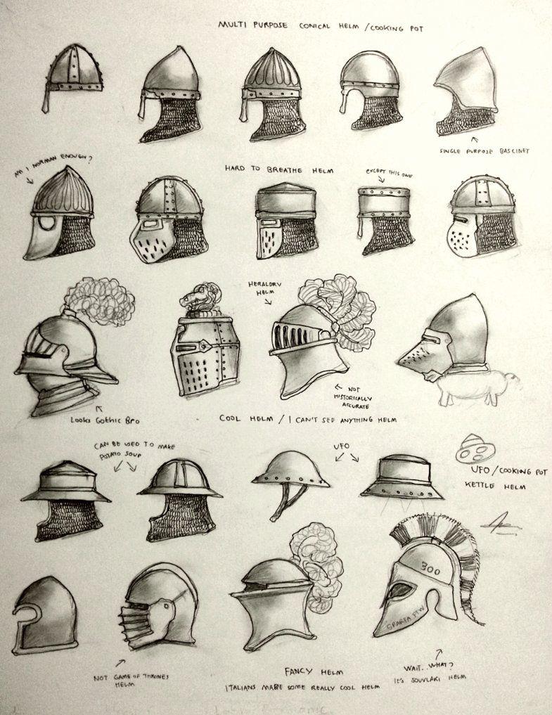Medieval Helmet Drawing : medieval, helmet, drawing, Project, WARRGH, Medieval, European, Helmet, Gambargin, Armor, Drawing,, Helmets,