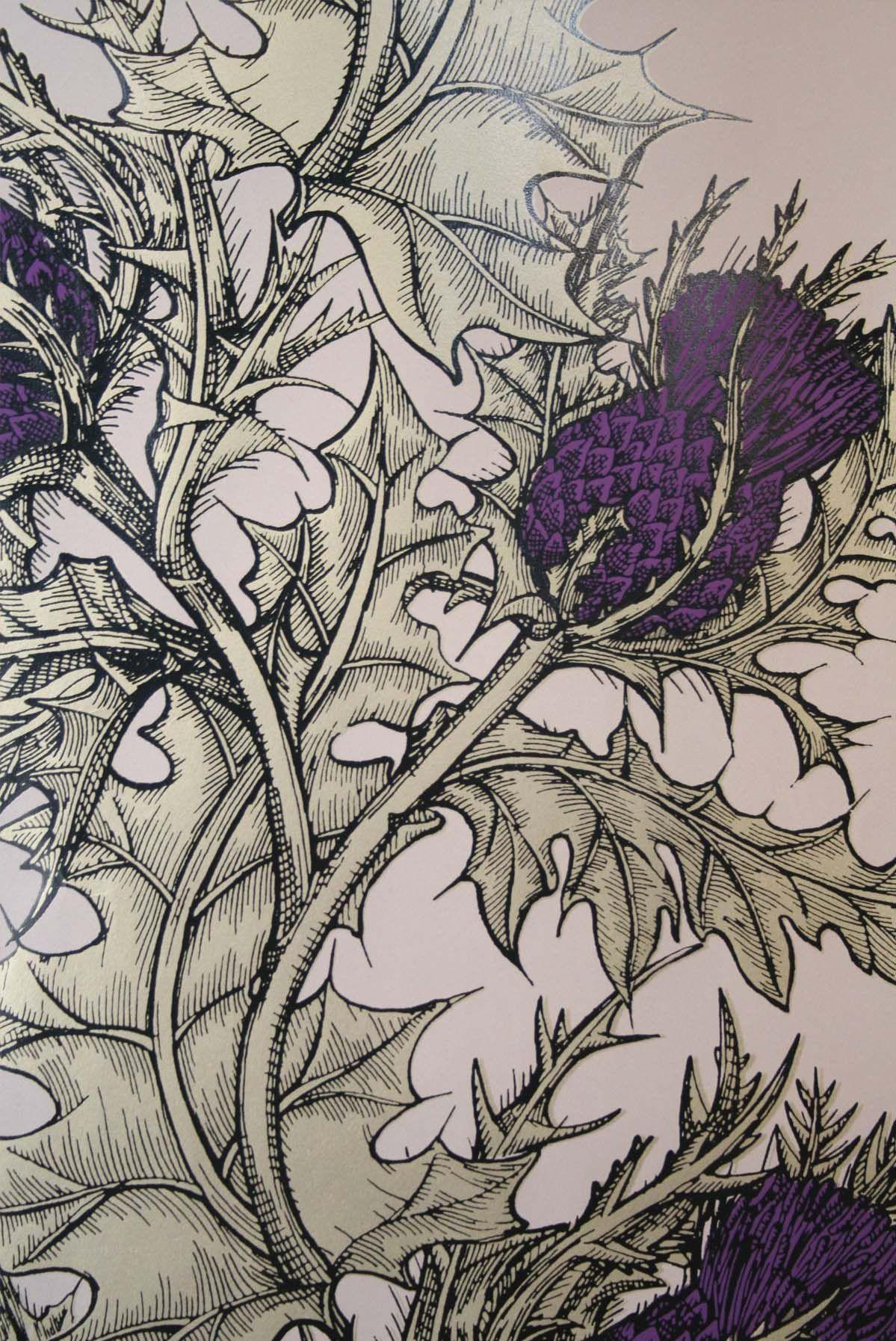 Timorous Beasties Wallcoverings - Grand Thistle Hand-Print
