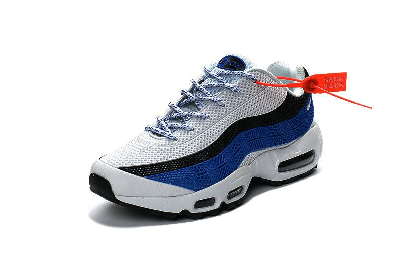 Free Shipping Only 69 Nike Air Max 95 ID KUP MENS SHOES WHITE BLUE