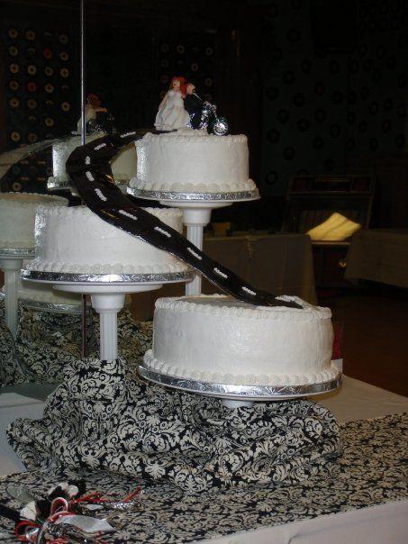 Biker Wedding Cake Themed From The Song God Bless Broken Road