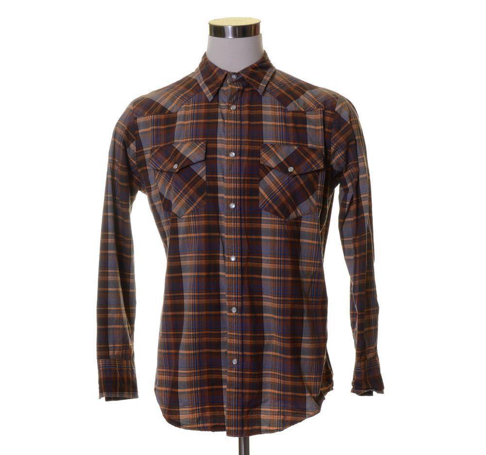 THE BIG MAC WORK WEAR Orange Brown Blue Plaid Pearl Snap Button Western Shirt M
