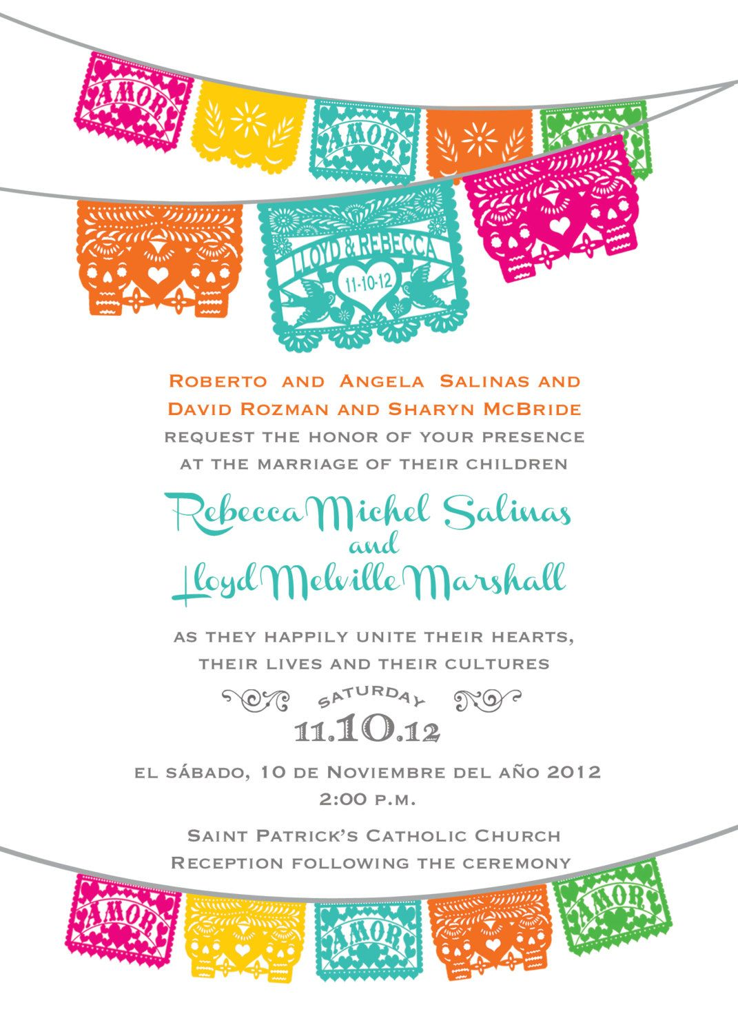 Day Of The Dead Skull Papel Picado Fiesta Wedding Invitation And Response  RSVP Cards I Design