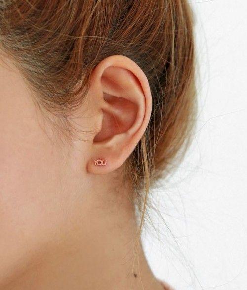 925 Sterling Silver I Love You Stud Earrings Letter