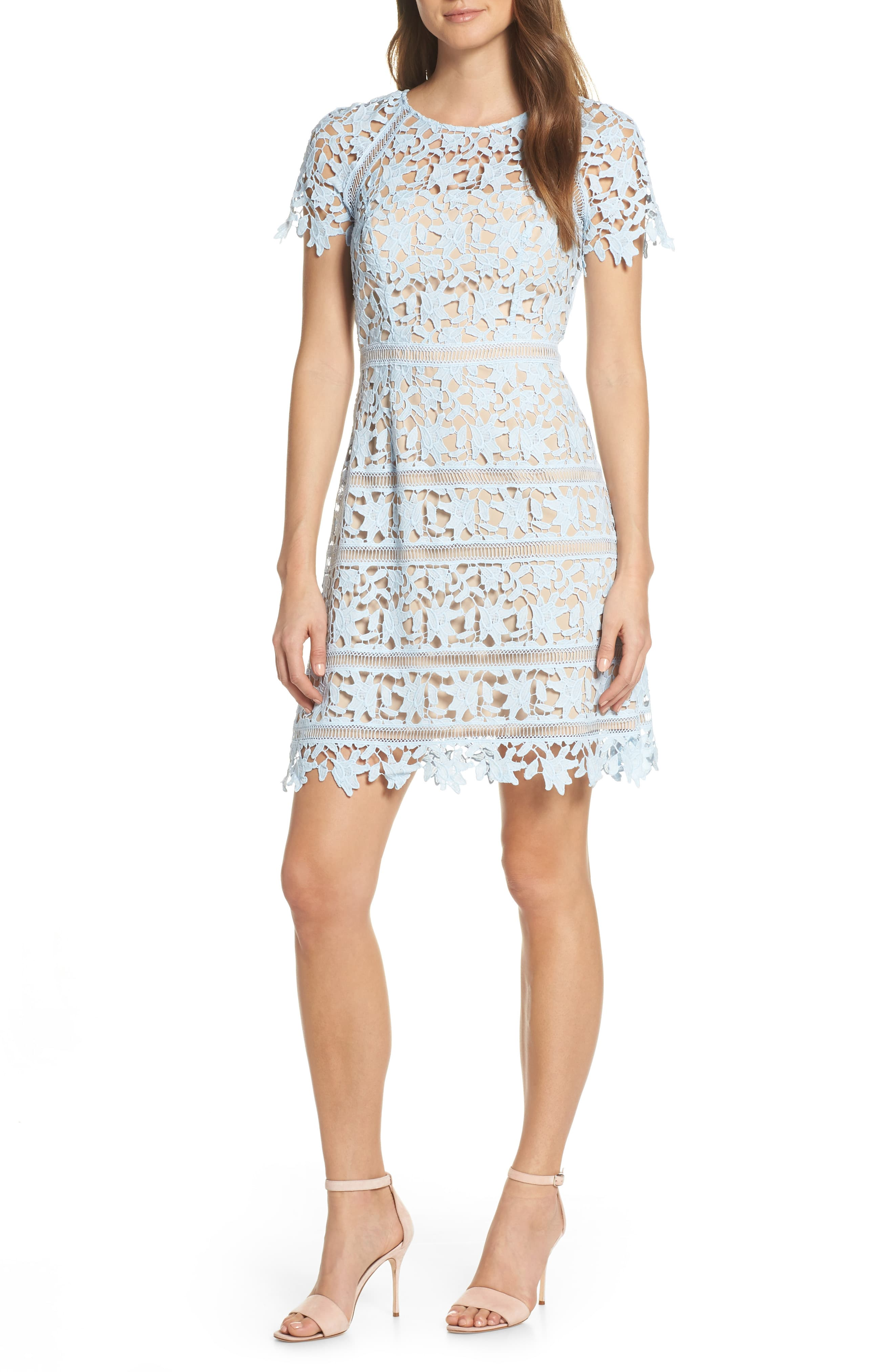 Womens Eliza J Open Lace Dress Size 2 Blue In 2019