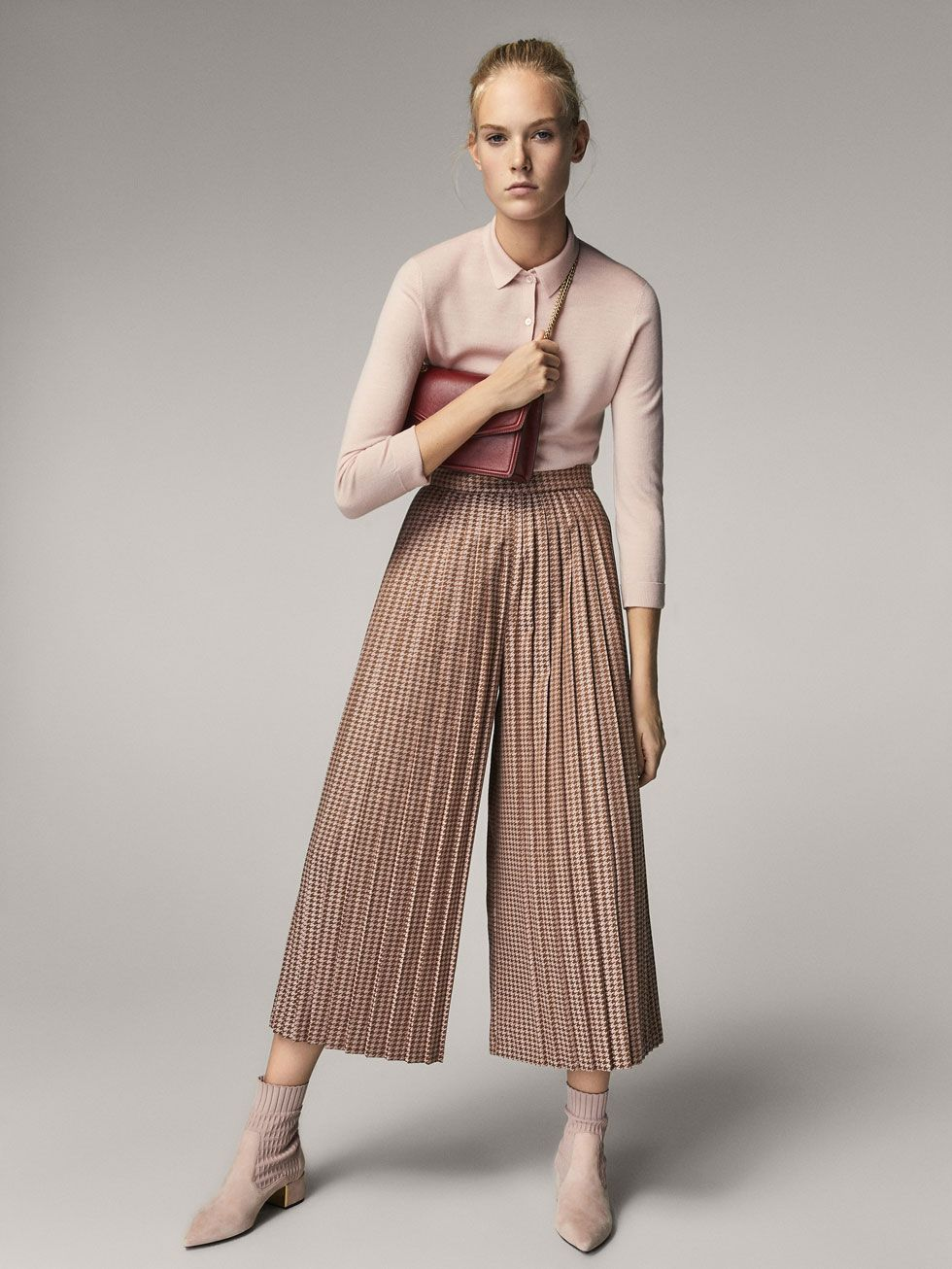 1340c6955 CULOTTE FIT PLEATED HOUNDSTOOTH TROUSERS - Women - Massimo Dutti ...