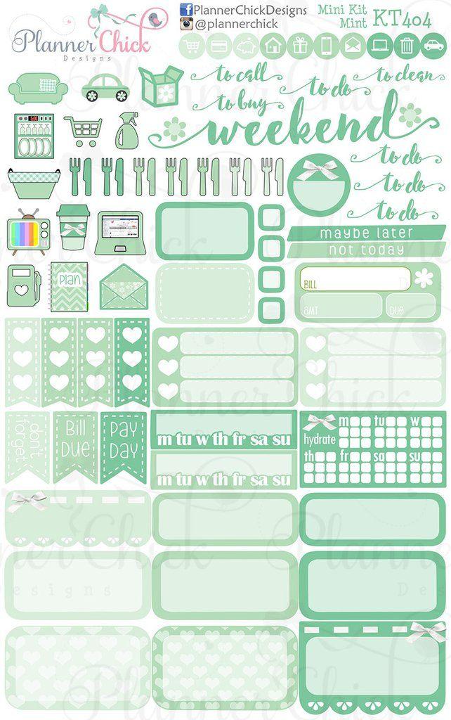Mint Mini Kit More Agendas Pinterest Planners, Minis and Happy