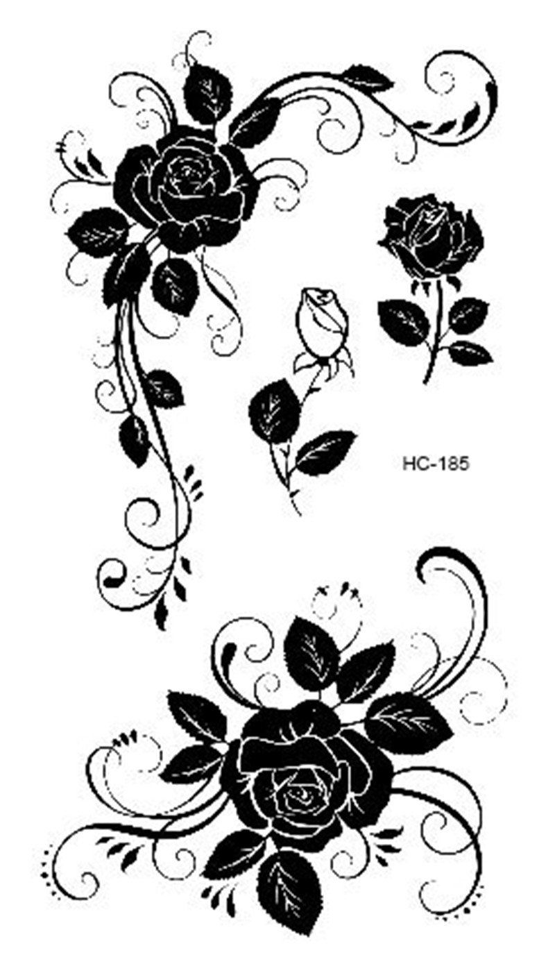 7892974c0 Women Sexy Finger Flash Fake Tattoo Stickers Black White Flowers Rose  Design Water Transfer Temporary Tattoo Sticker
