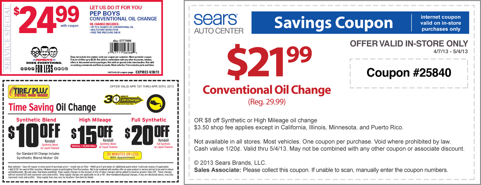 Pinned April 8th Various Deals On An Oil Change At Sears Pep