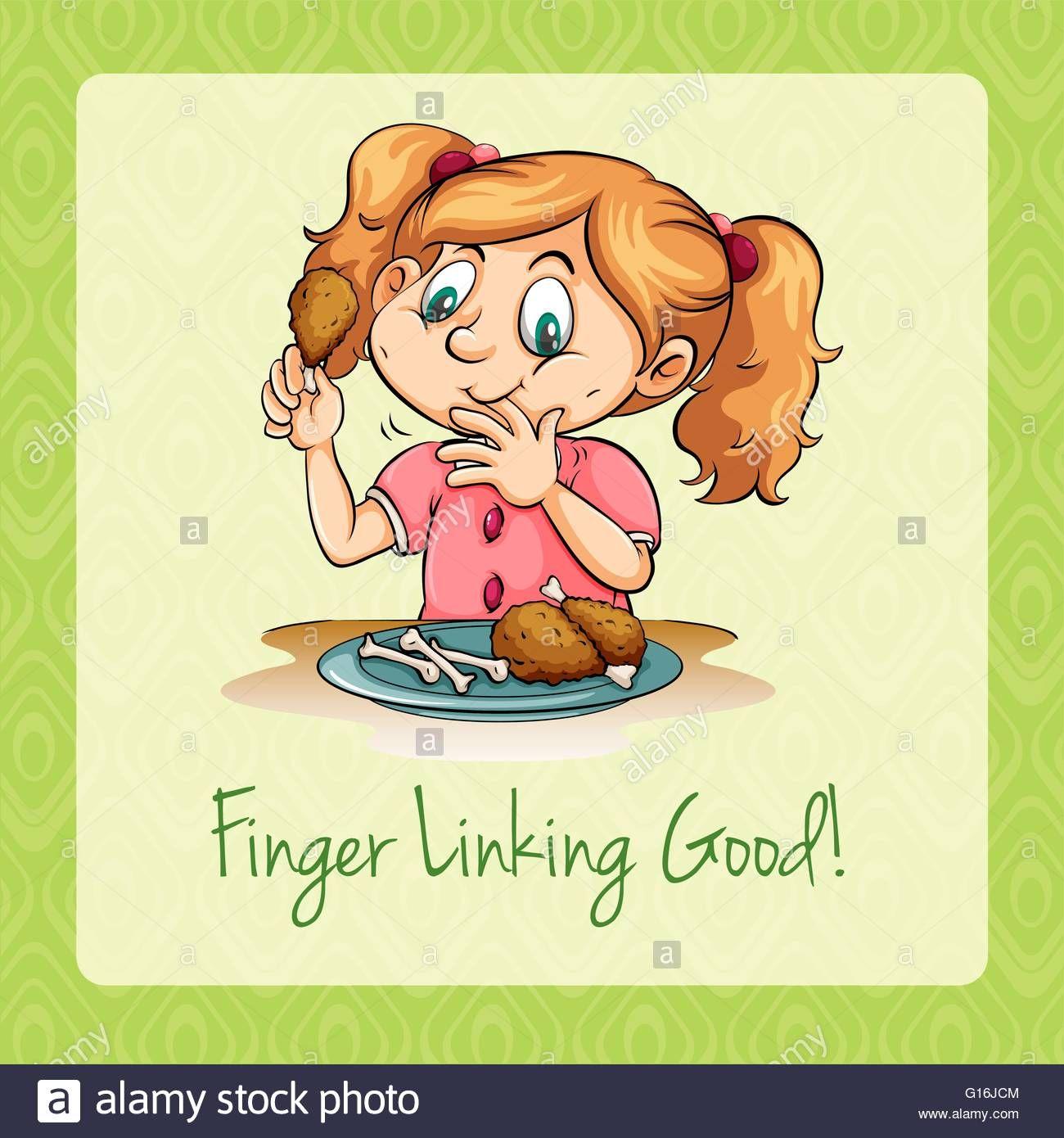 Girl Eating Fried Chicken Illustration