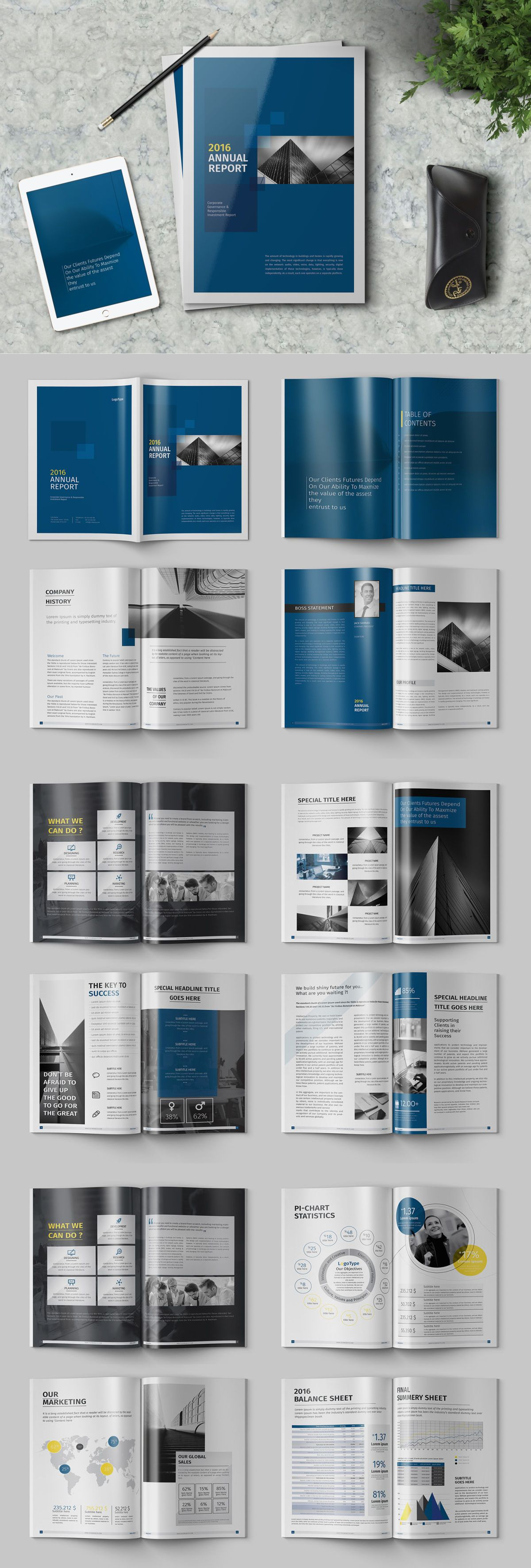 Blue Annual Report Template InDesign INDD | Report | Pinterest ...