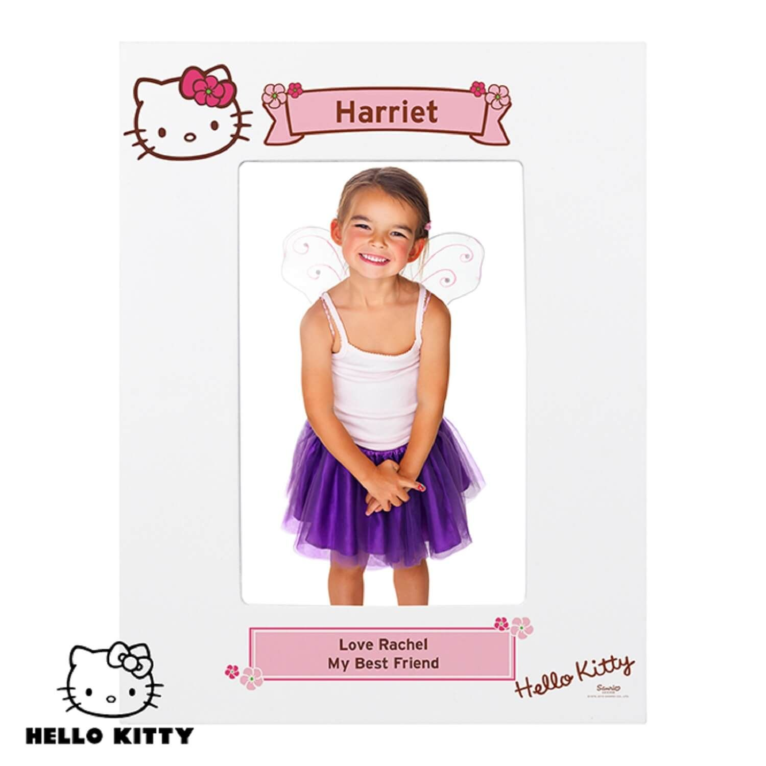 Hello kitty floral personalised 6x4 photo frame https