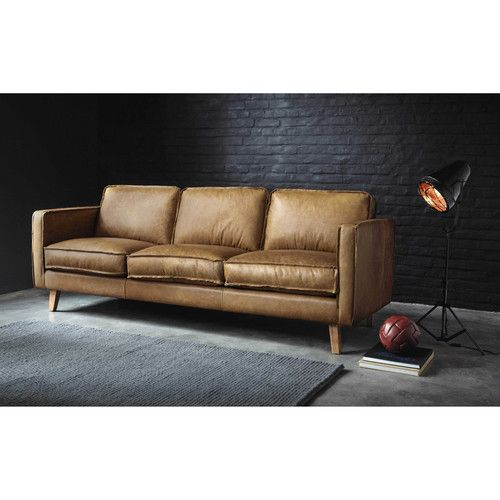 canap vintage 3 places en cuir camel canape pinterest. Black Bedroom Furniture Sets. Home Design Ideas