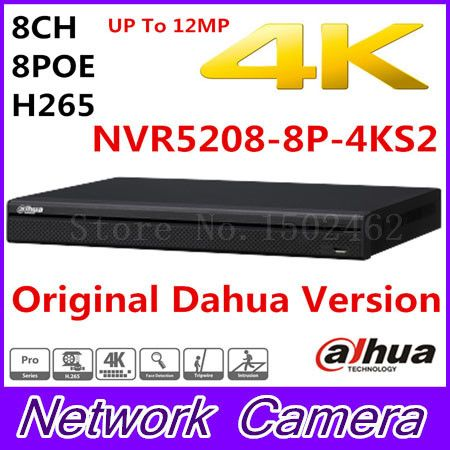 Free shipping New Dahua 8CH 1U 4K&H 265 1080P NVR support 2HDD 8 poe