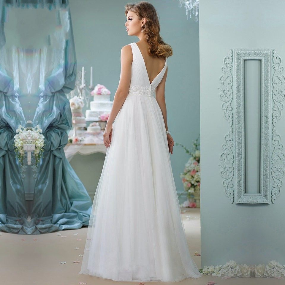 White beach elegant vneck sashes beaded tulle wedding dress