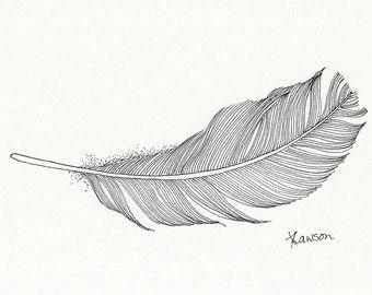 Line Art Feather : Original pluma de tinta dibujo ria y negro por annelawsonart