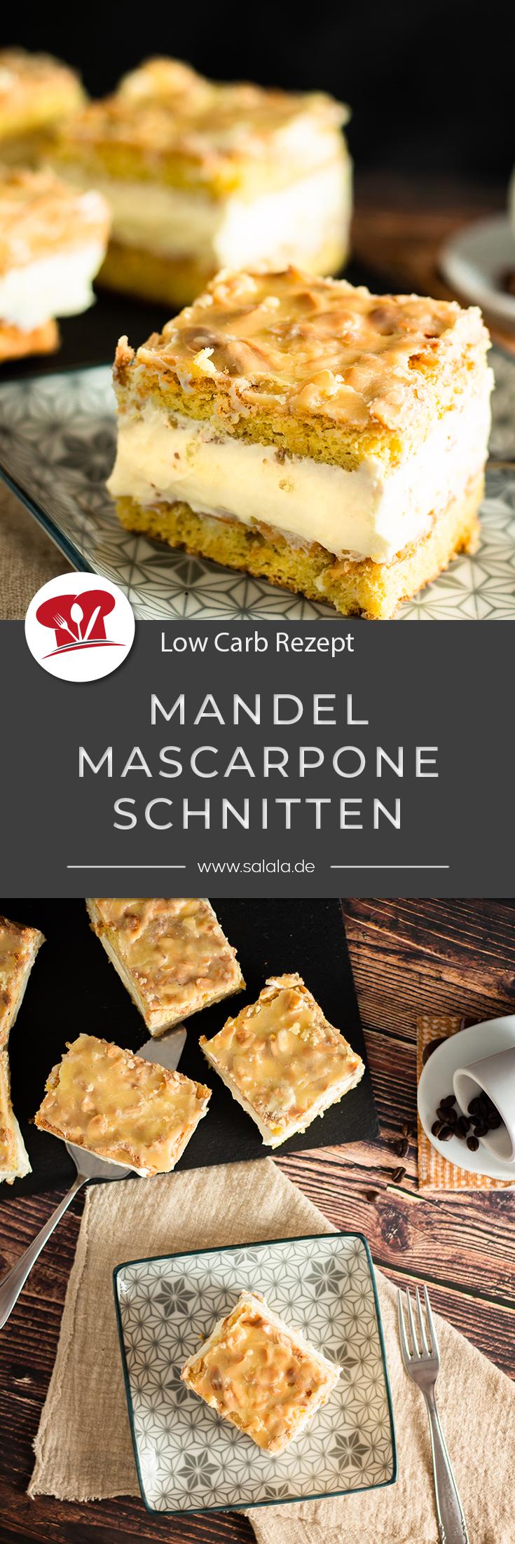 Mandel-Mascarpone-Schnitten, zuckerfrei | salala.de – Low Carb leicht gemacht