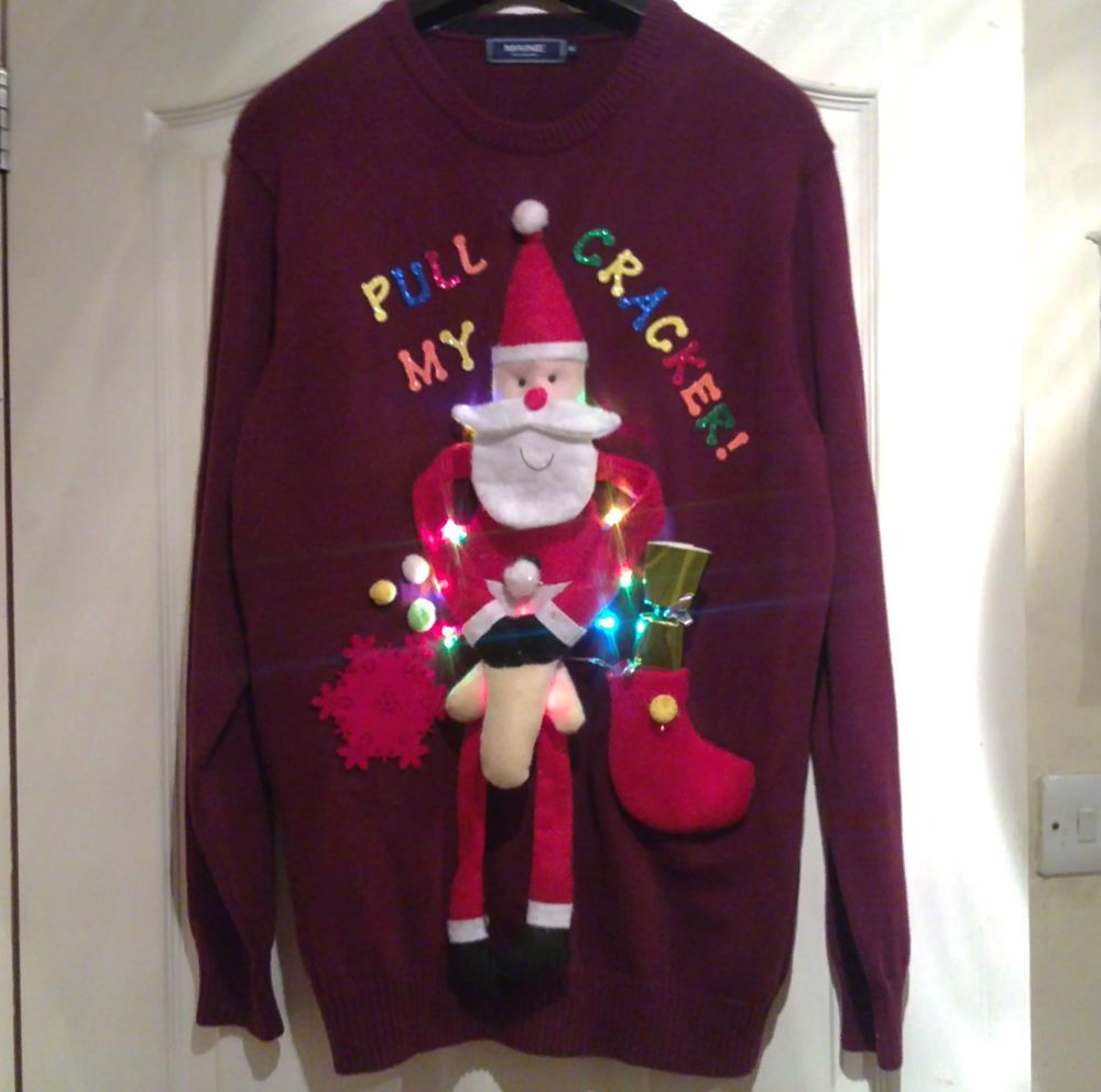 Novelty Rude Light Up Christmas Jumper Size Medium