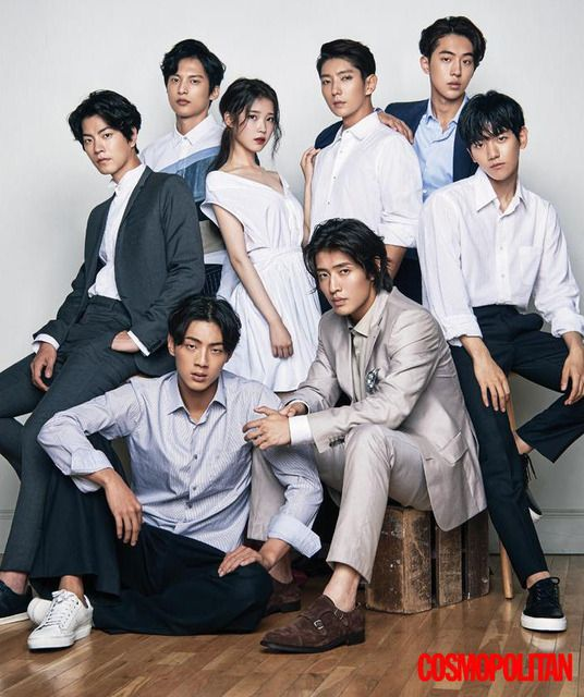 Iu Surrounded By Male Cast Of Scarlet Heart Ryeo On Cover Of August 2016 Cosmo Korean Drama Aktor Majalah Cosmopolitan