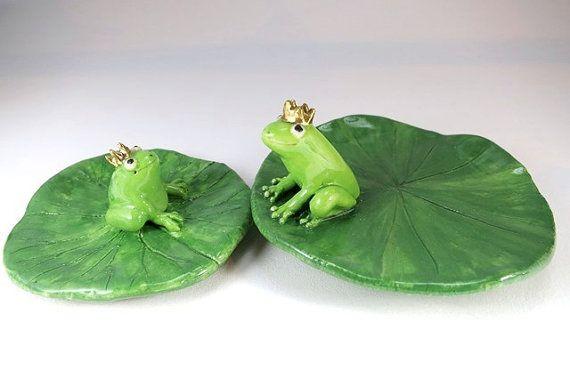 Frog Prince Ring Dish Gift Green Frog Lily Pad Dish от ChikoCraft
