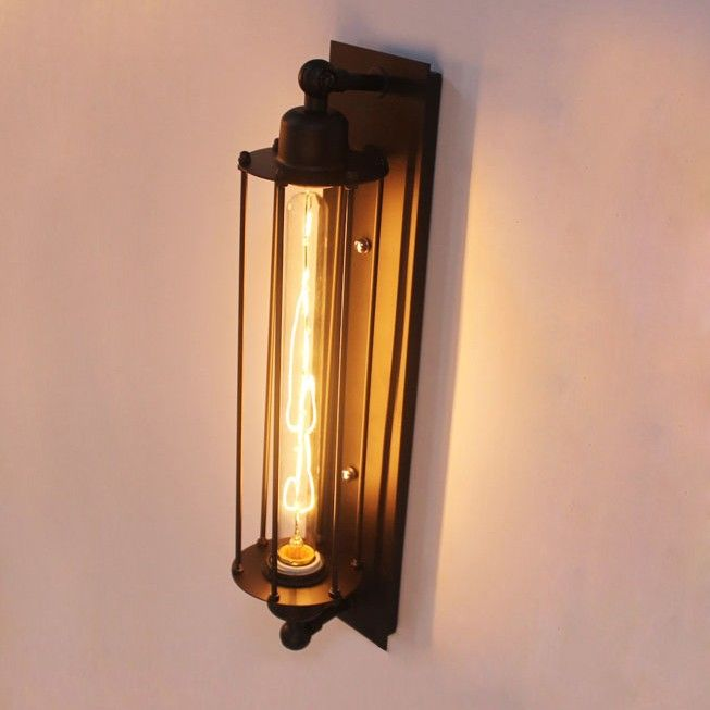 Svadis Industrial 1 Light Cylinder Black Wall Sconce Indoor Sconces Wall Lights Lighting Wall Lights Indoor Sconce Lighting Indoor Wall Lights