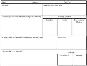 Common Core Planning Sheet In Word Common Core Lesson Plans Math Lesson Plans Template Math Lesson Plans