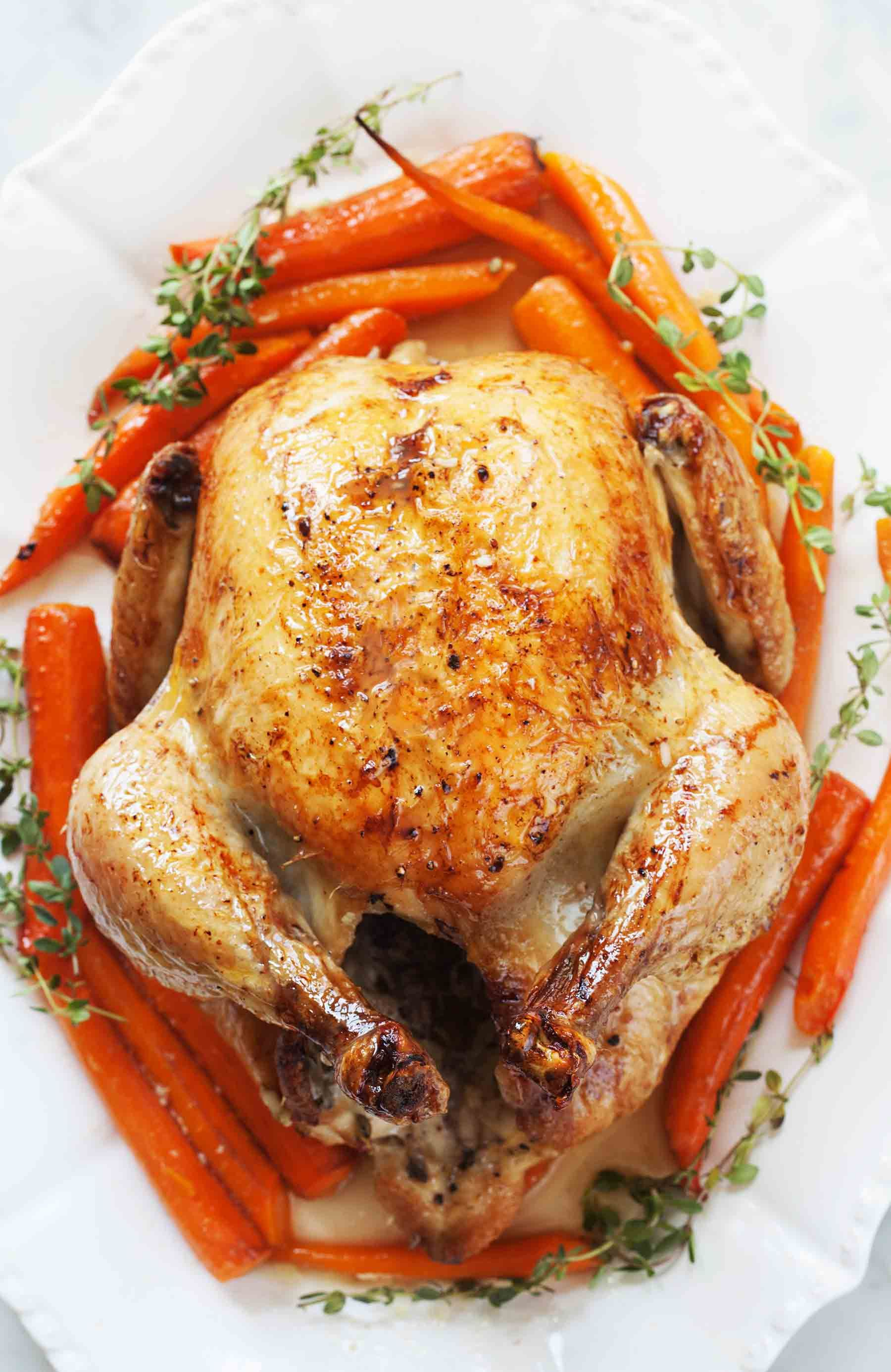 Roast Chicken With Carrots Recipe Simplyrecipes Com Recipe Stuffed Whole Chicken Whole Roasted Chicken Recipes