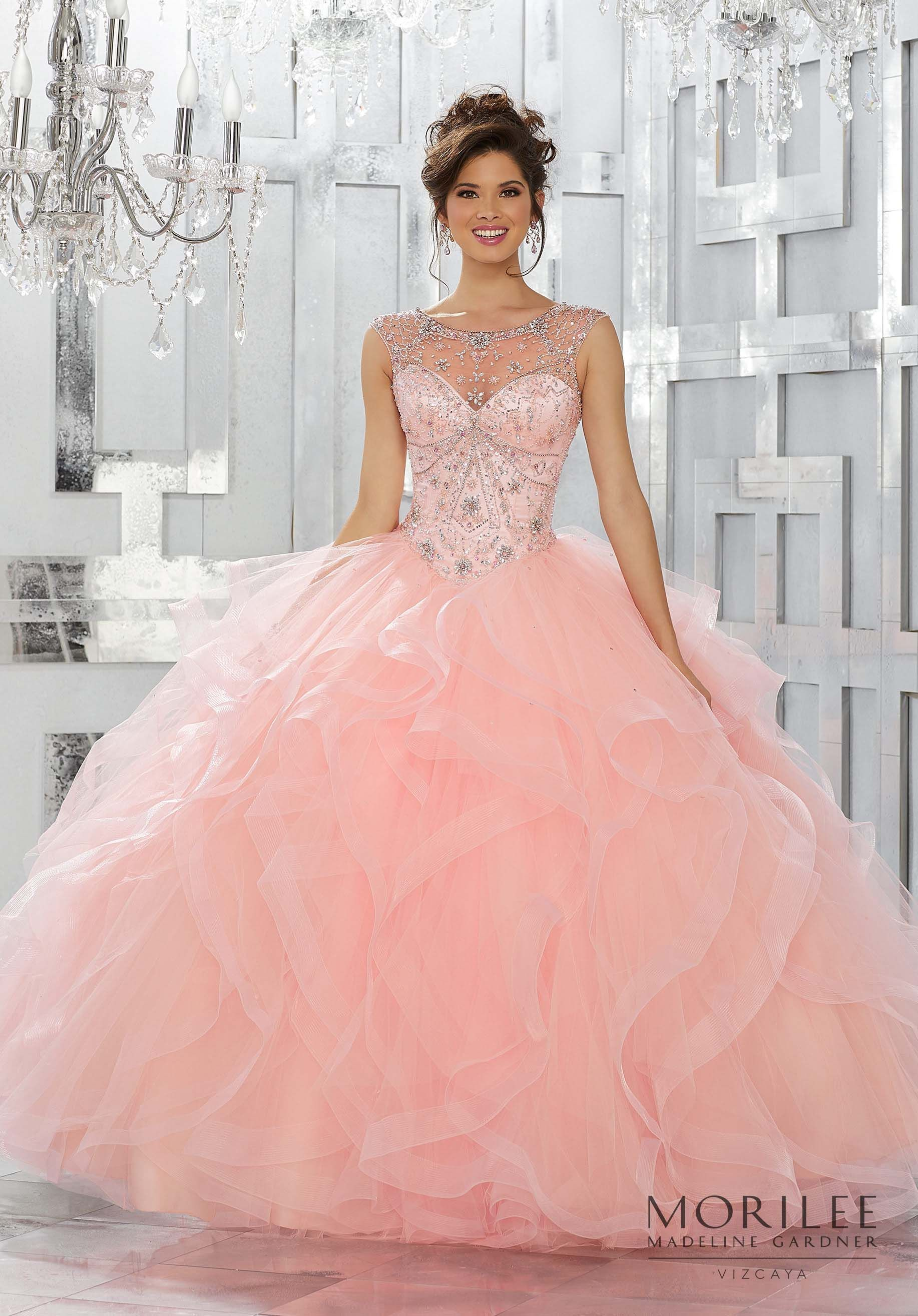 Jeweled Net Bodice on a Flounced Tulle Ball Gown Skirt | Cheveux ...