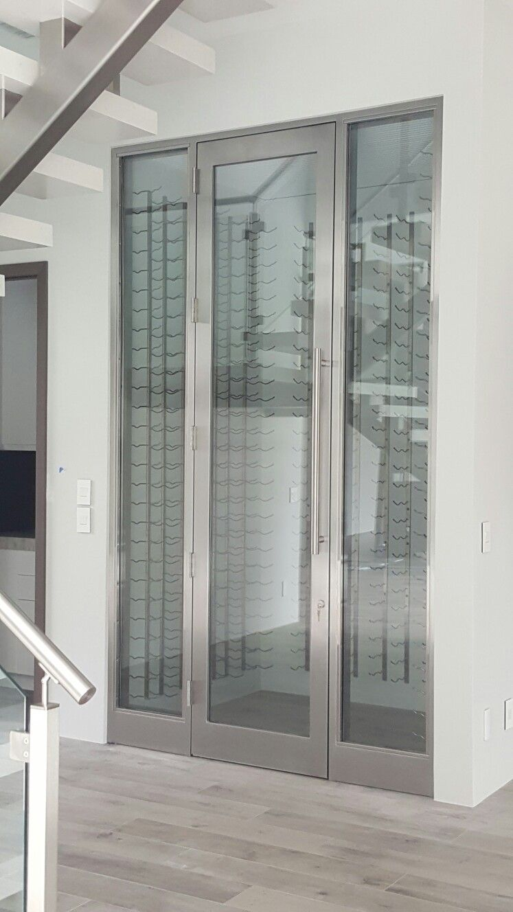 Brushed Stainless Steel Refrigerated Wine Cellar Doors By Www