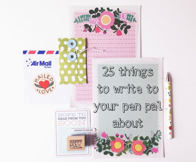 25 things to write to your pen pal about, via One Crafty Mumma - new letter envelope address format canada
