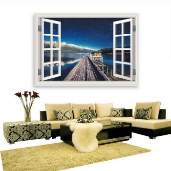 3D Wall Decals Removable Harbour Wharf Starry Sky Design Water
