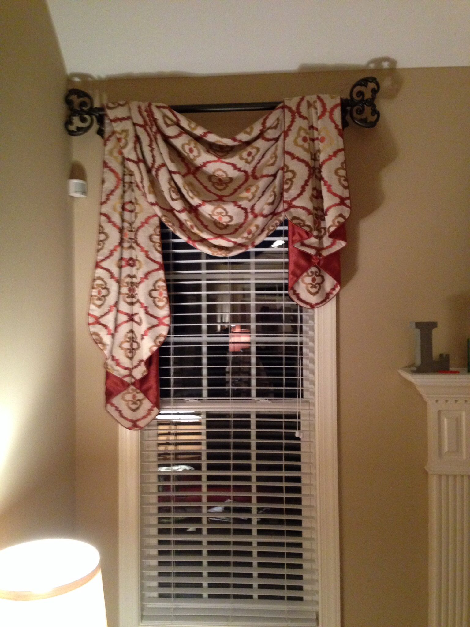 Gorgeous fabric for traditional pole swag and jabots by - Swag valances for bathroom windows ...