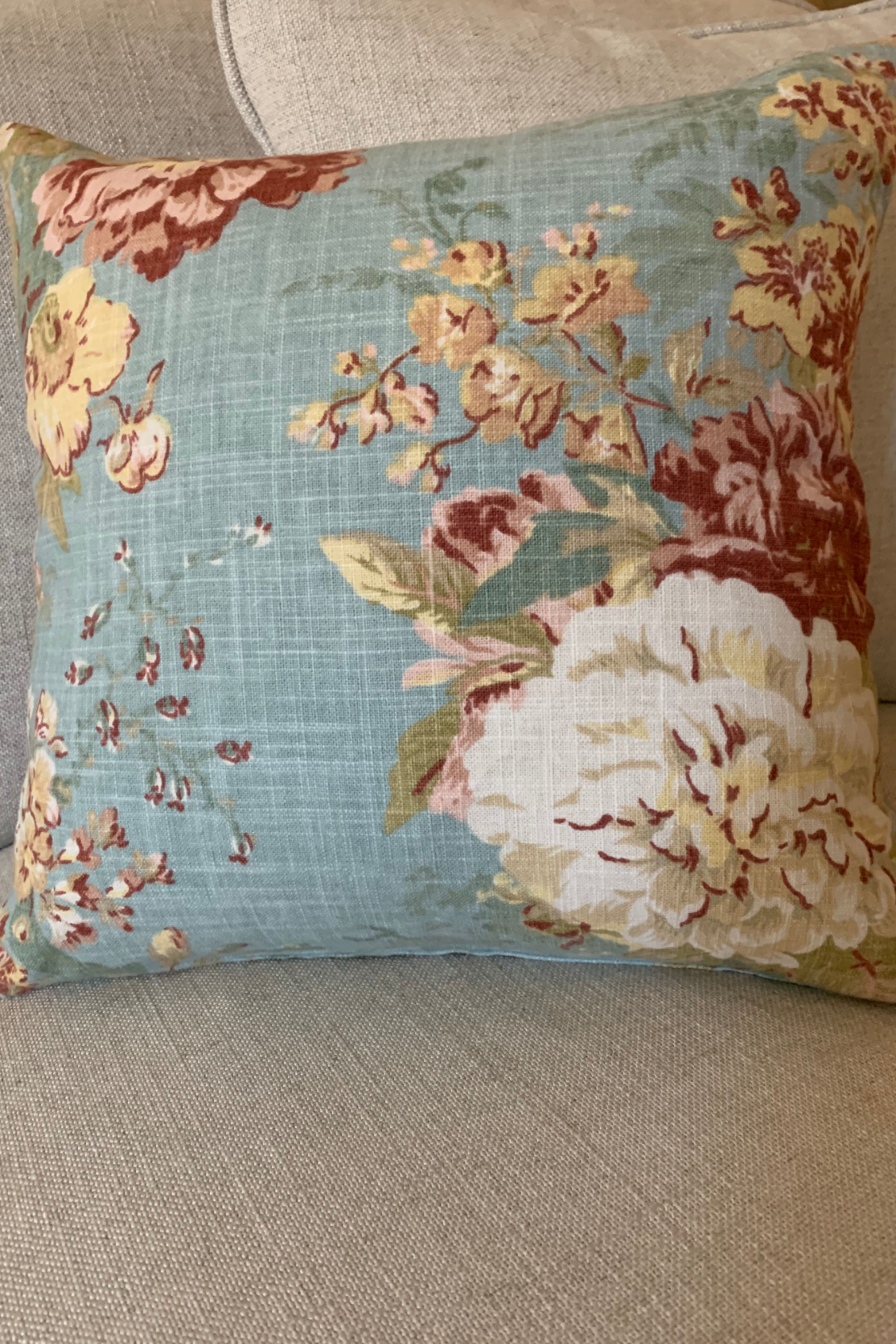 Photo of Blue floral French country throw pillow