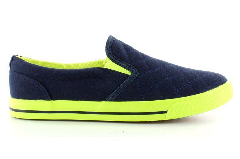 Tenisowki Damskie Obuwiedamskie Granatowe Bawelniane Slip On Pikowane H537 Granat Obuwie Damskie Sneakers Shoes Fashion