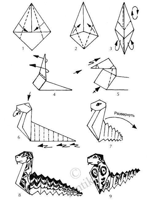 Art activities for kids. Origami scheme out of paper