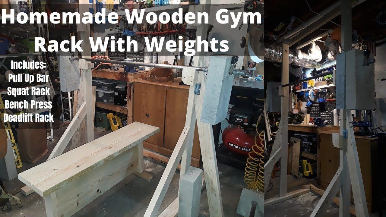 Homemade Wooden Gym Rack in 2020 Gym rack, Squat rack