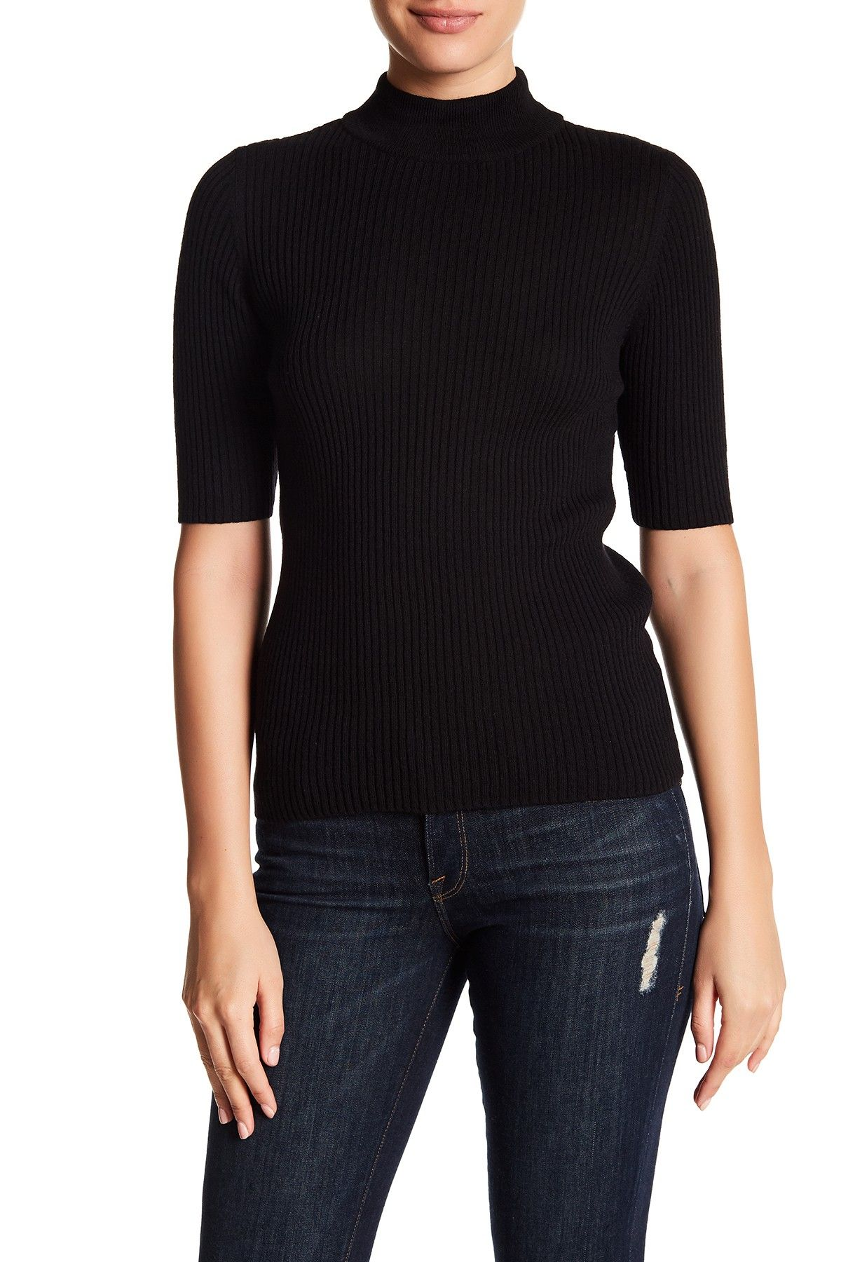 Short Sleeve Mock Neck Sweater Products Pinterest Short