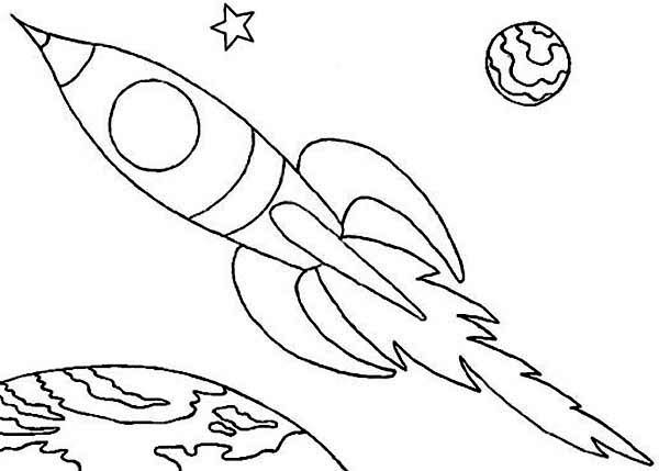 Space Rocket Colouring Pages