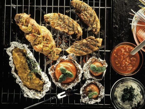 Verschiedene Fleischgerichte vom Grill ist ein Rezept mit frischen Zutaten aus der Kategorie Fruchtgemüse. Probieren Sie dieses und weitere Rezepte von EAT SMARTER!