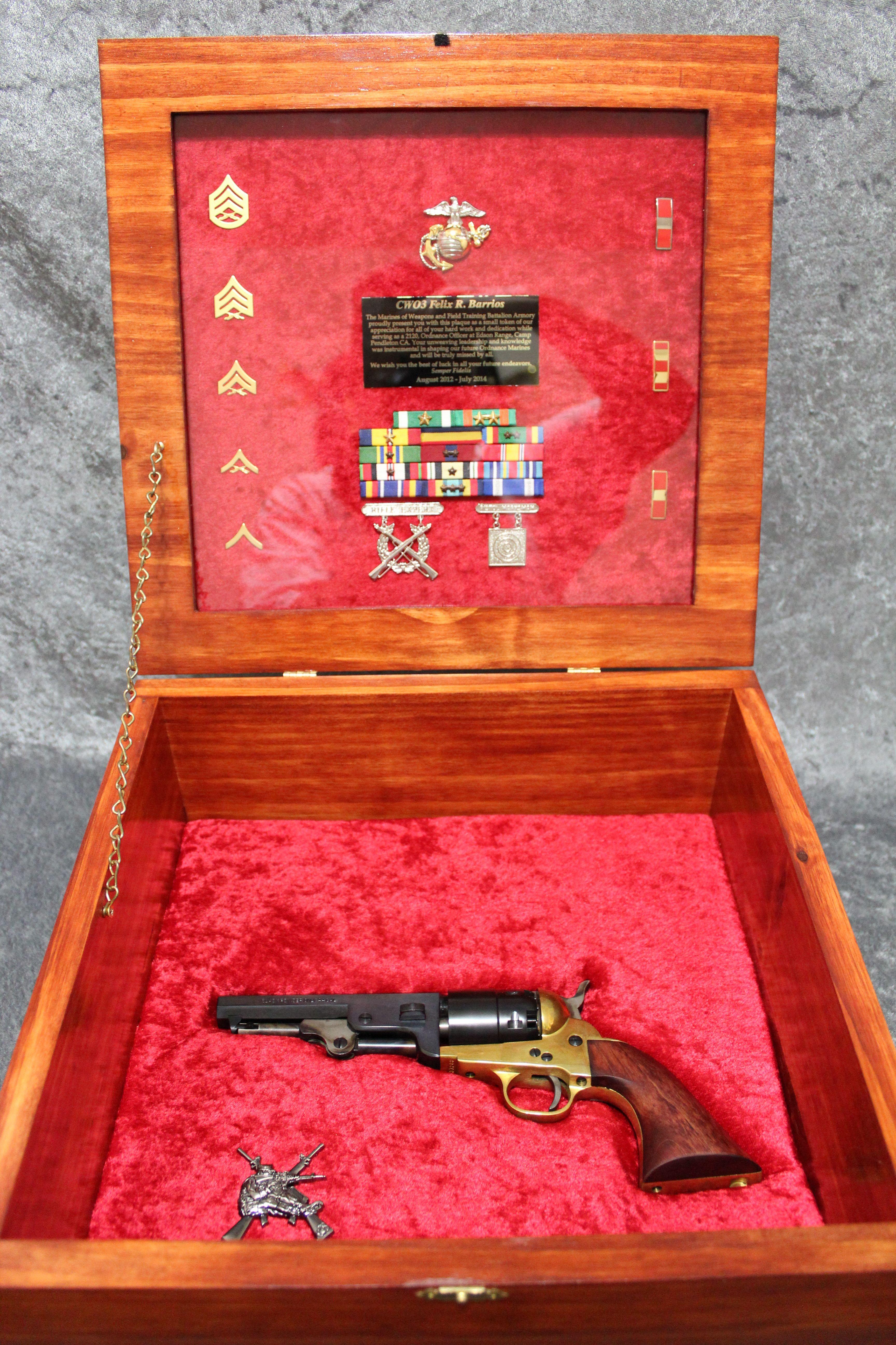 Double pistol handgun revolver gun display case cabinet rack shadowbox - Usmc Plaque Questions On Design Or Price Contact Lunawood1775 Gmail Com