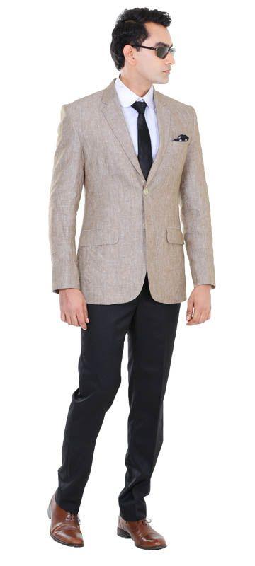 Light Brown Linen sharkskin Blazer Wrinkle Resistant Black 100s ...