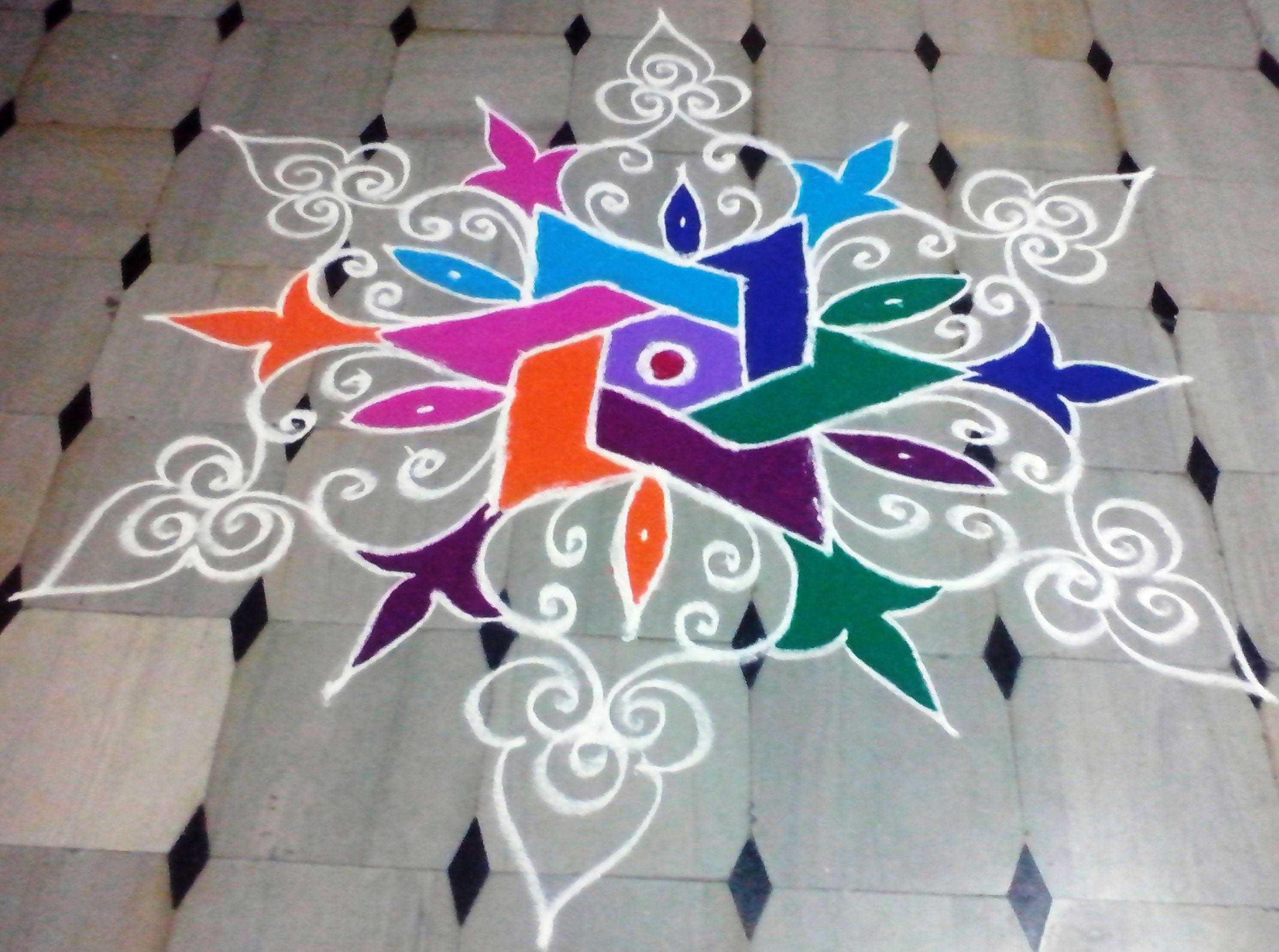 Makar Sankranti and New year 2015 Designer Rangoli   Vasu Rangoli ... for Latest Rangoli Designs With Dots For New Year 2015  51ane